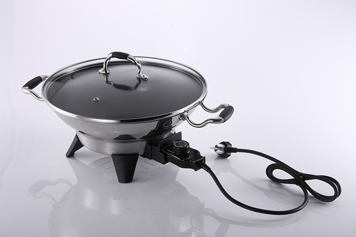 Tri-ply S/S electric wok Fast Heat Round Griddle Electrical Wok Pan