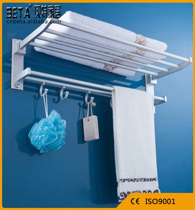 Decorative Bathroom space aluminum towel rack / towel shelf with hooks
