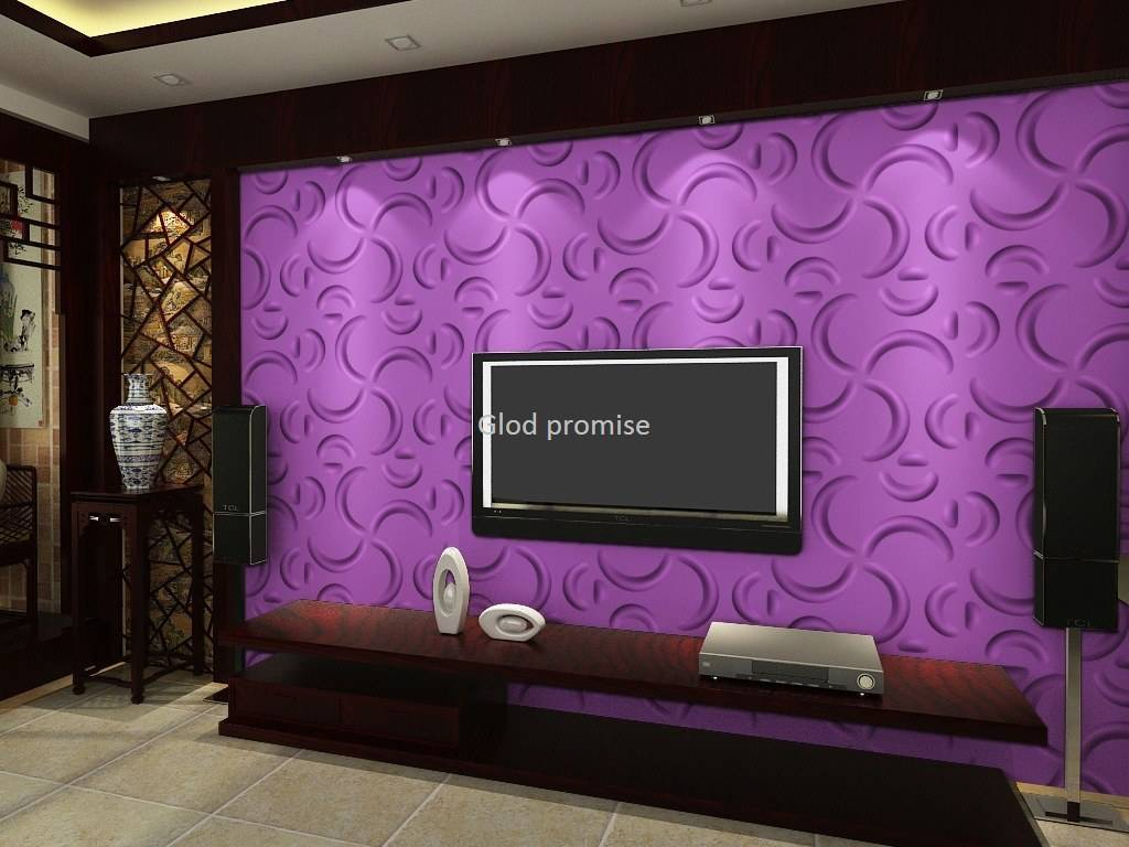 Eco friendly 3D glue on wall panel plant fiber material bathroom hall decor *33
