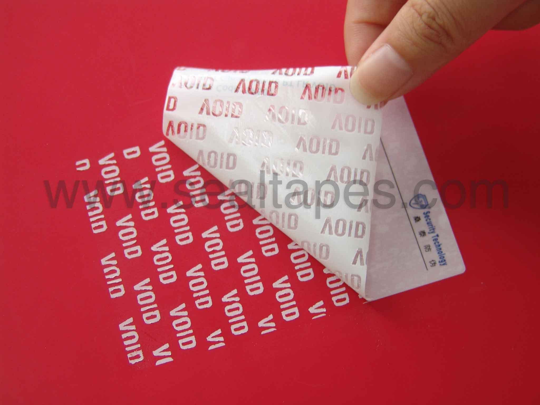 Tamper evident label printing materials