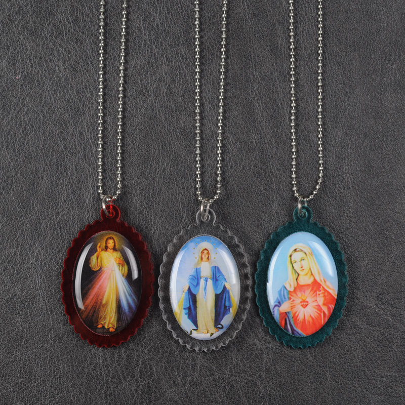 Divine Mercy pendant necklace, Our Lady of Grace pendant necklace, Immaculate heart of Mary necklace