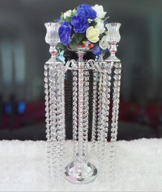 Small Golden & Silver Wedding Decotation Crystal Candle Holder