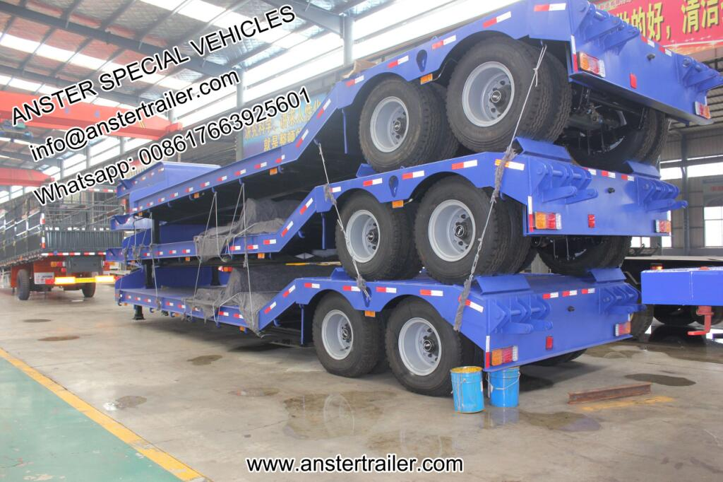 2/3/4 axles 40/50/60tons lowbed trailer with air/pneumatic suspension