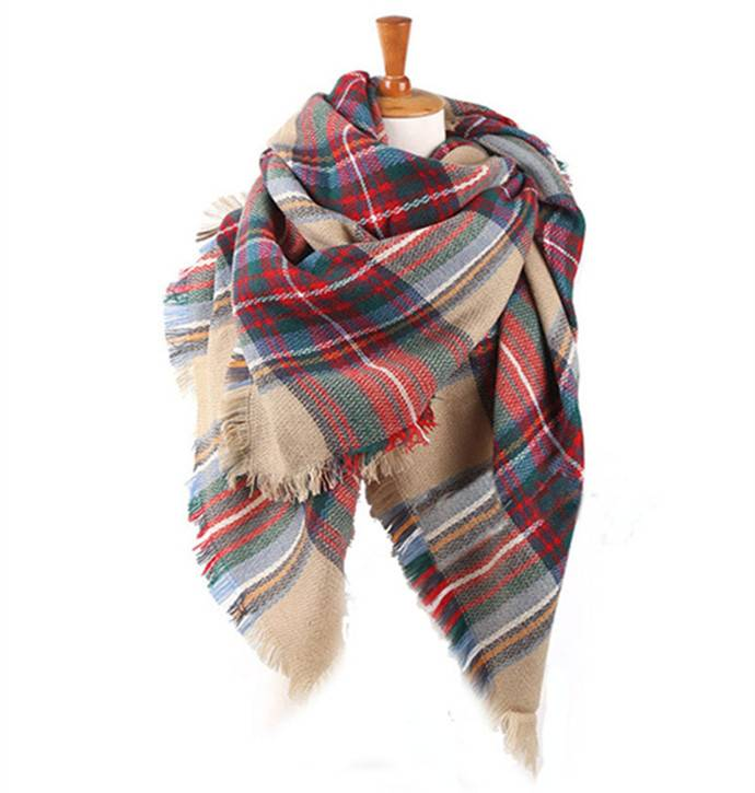 Women's Fashion Winter Patchwork Style Square scarf Plaid pattern scarf