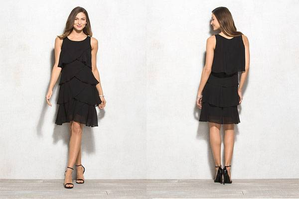 Double layer black chiffon tiered dress for women
