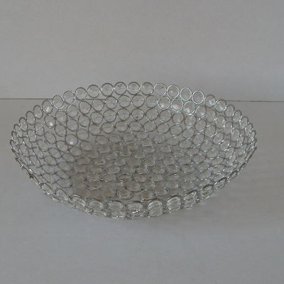 Crystal Acrylic Beads Bowl Shape Decorative Serving Tray Holder Basket
