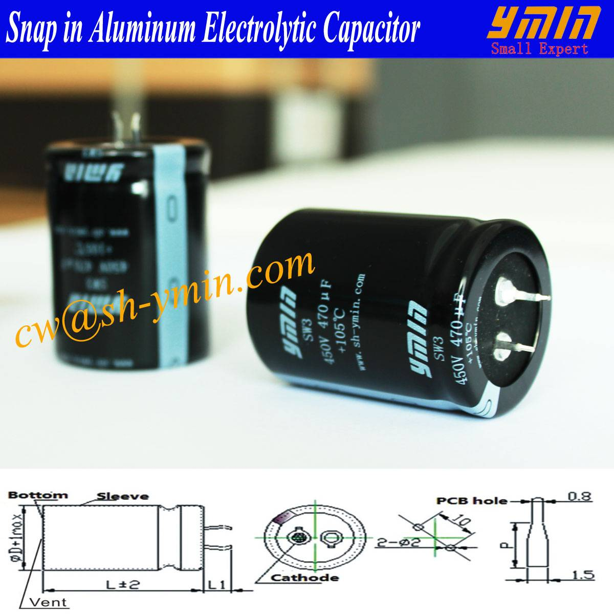DC Capacitor Snap in Electrolytic Capacitor for EV Charging Piles and EV Charging Post