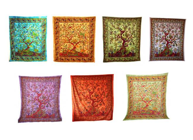 Handicrunch | Indian Beautiful Tree Of Life Print Tapestry Wall Hanging