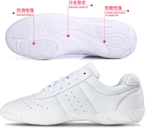 2015 latest high quality pure white durable cheerleading shoes wholesale