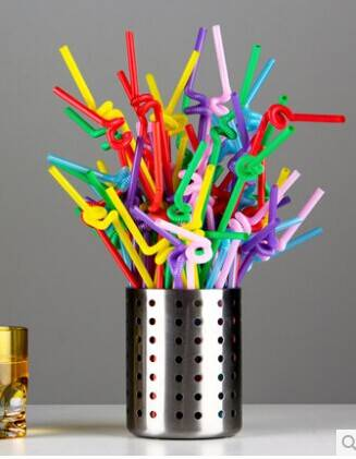 Ø 6mm / 26cm DIY Plastic Bendable Crazy Straws Juice Drinking Straw Party Supplies