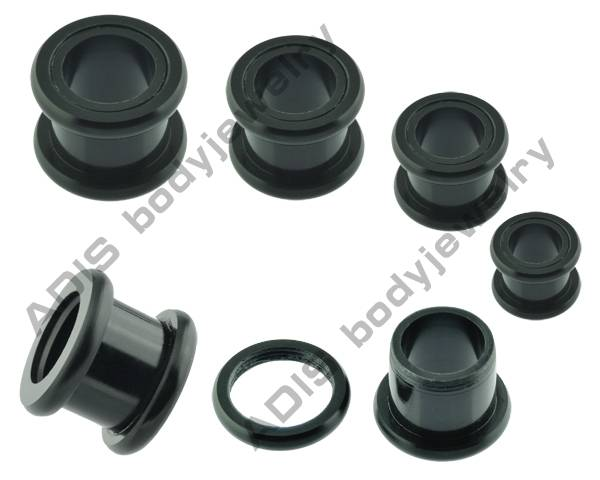 anodised surgical steel double flared tunnel ear gauge plugs