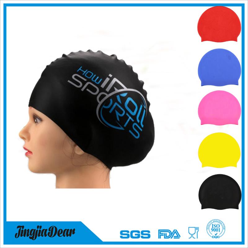 custom logo adult kid size silicone swim cap,professional silicone swimming cap manufacturer