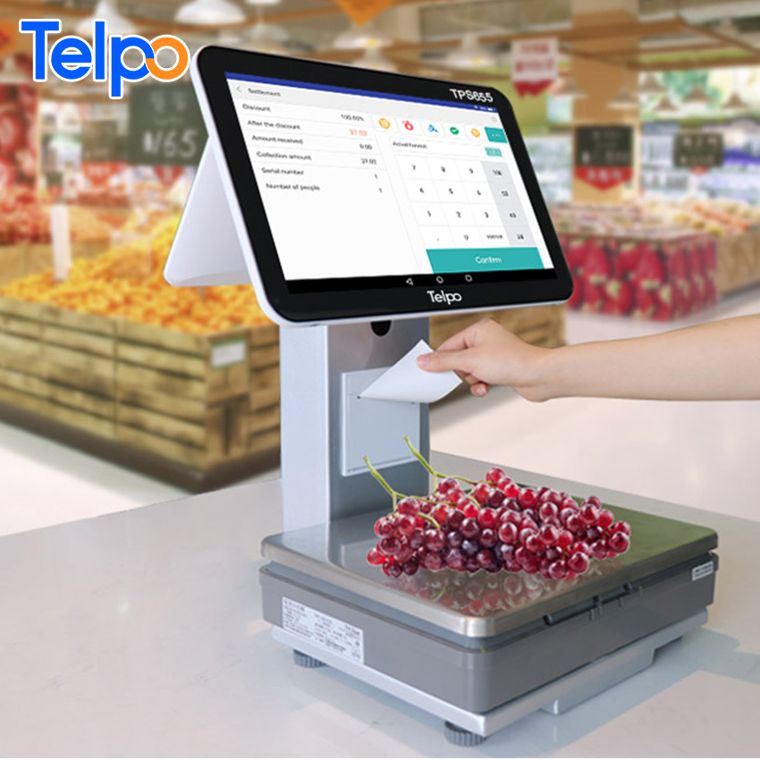 retail solution Telpo Pos Scales All In One Touch Android Cash Register Weighing Scale With Printer
