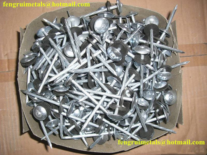 Factory sale umbrella roofing nails with rubber washer