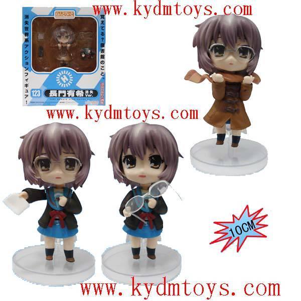 MOQ(USD300) 10cm cute Yuki Nagato with face transplant  for Haruhi Suzumiya anime action figures (pc