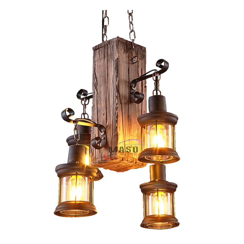 Vintage wooden light hanging metal box lamp led lights chandelier