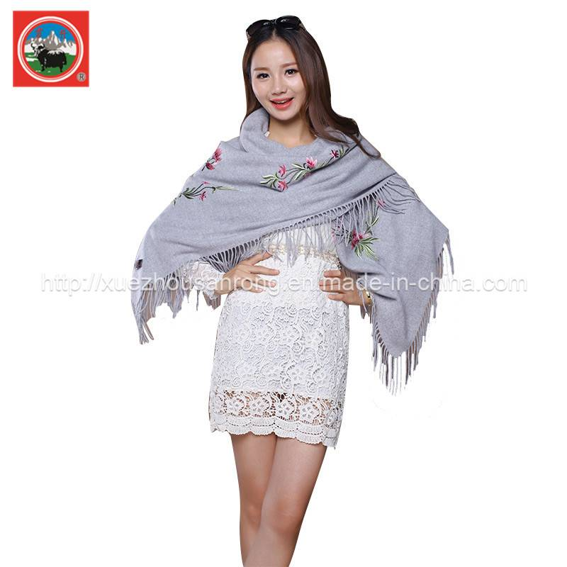 Ladies' embroidered cashmere shawl