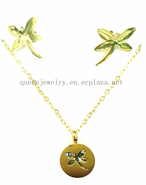 lovely Dragonfly shape pendant necklace 18k gold plated earring jewelry set stainless steel