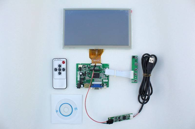 HDMI+2AV +VGA of LCD driver board +8 inch LCD panel with 800*480 + touch panel with control card+Rem