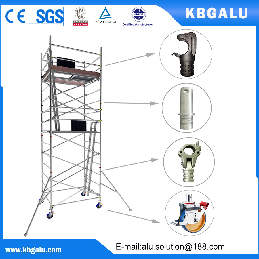 double width aluminum scaffold tower with 6.0m standing height