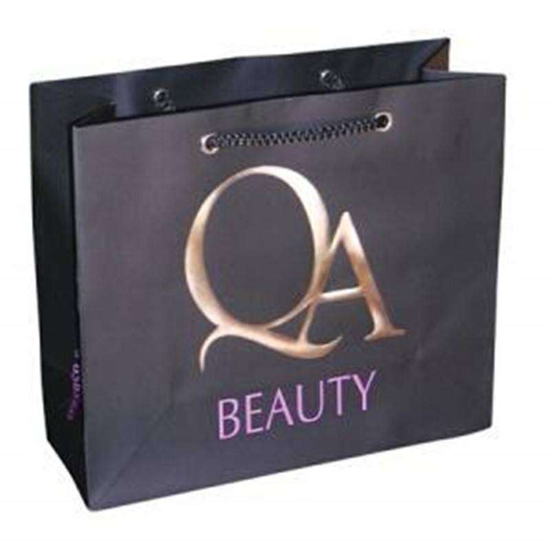 2015 beauty gold stamping black paper bag