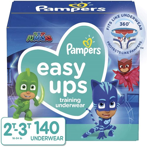 Pampers Easy Ups Pull On Disposable Potty Training Underwear for Boys and Girls, Size 4, (2T-3T), 14