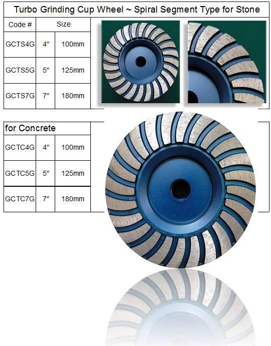Diamond Turbo Grinding Cup Wheel ~ Segment Spiral Type