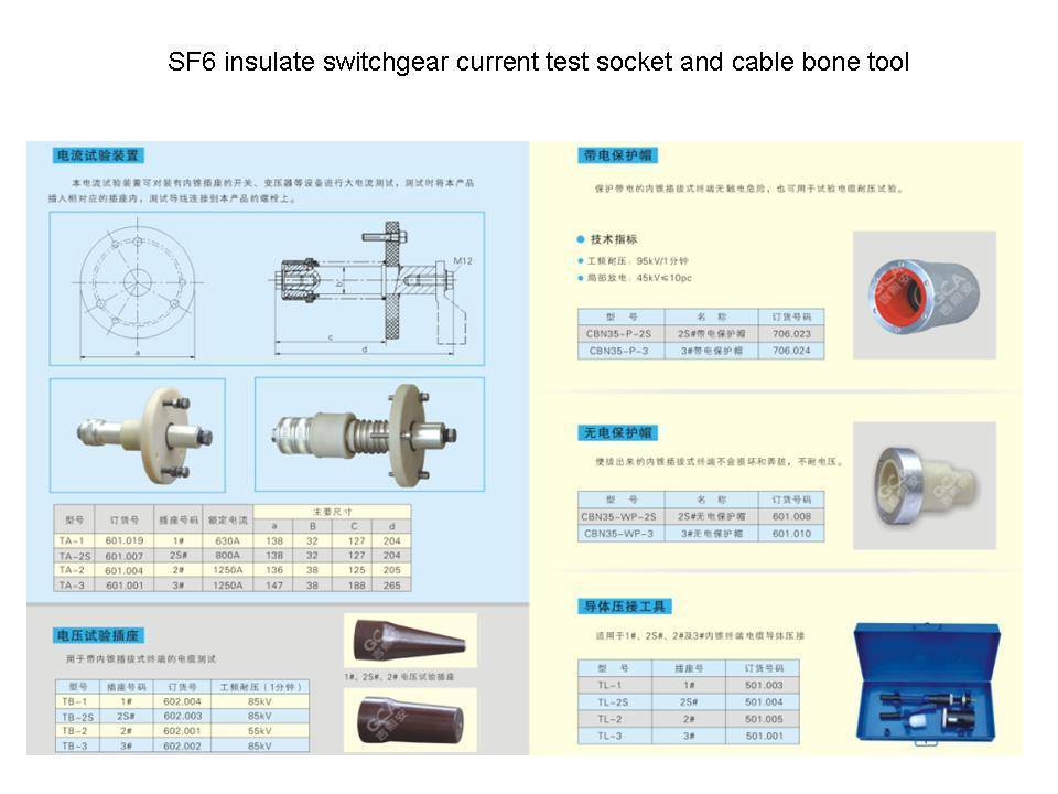 SF6 insulate switchgear current test socket and cable bone tool