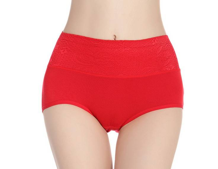 Modal with Lace waistband Pure Color brief Underwear - 8014#