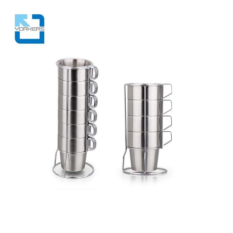 4/6 Pieces of 300ML Stainless Steel Milk Tea Cup Coffee Mug Set