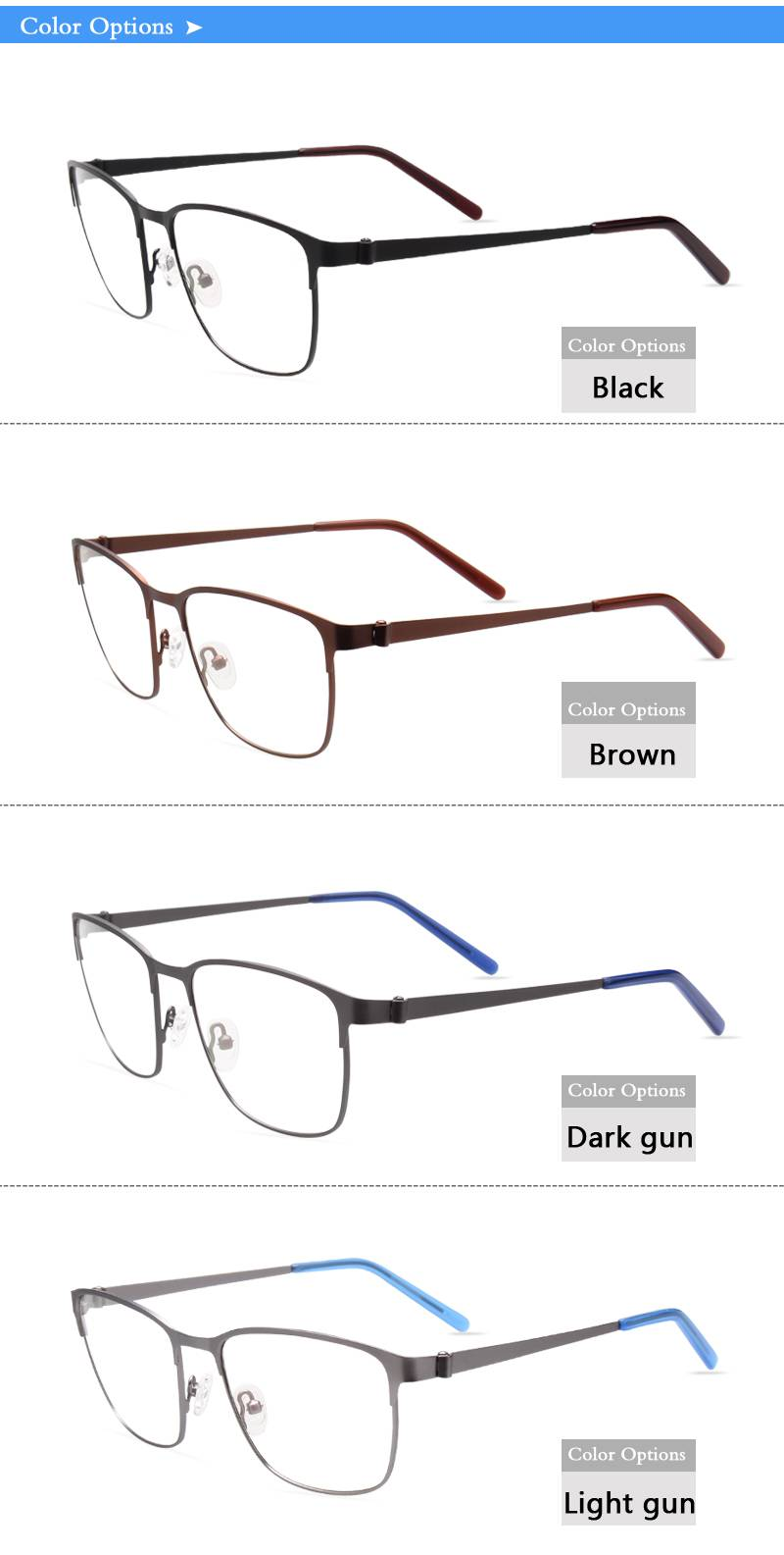 Fashion design flexible super light weight stainless steel metal optical frame JC8026