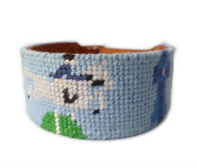 Fashion needlepoint bracelet with solid buckle by hand stitched