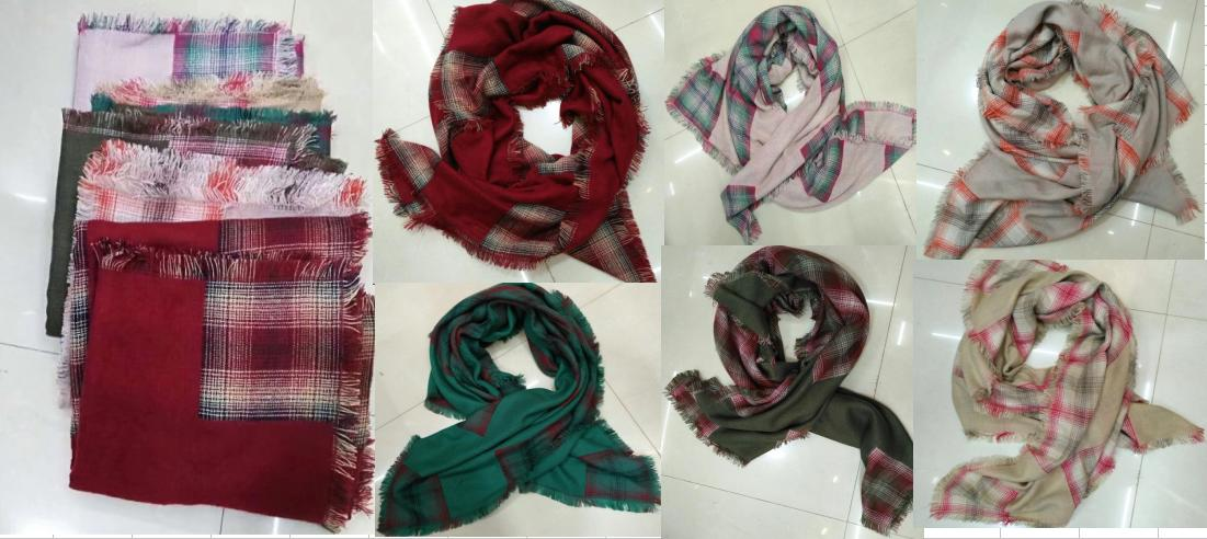 100% Acrylic Fashion Fall Winter Woman Lady Woven Check Square Scarf Shawls with Fringes