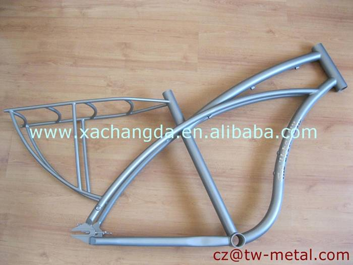 Customized titanium cruiser bicycle frame with rear rack