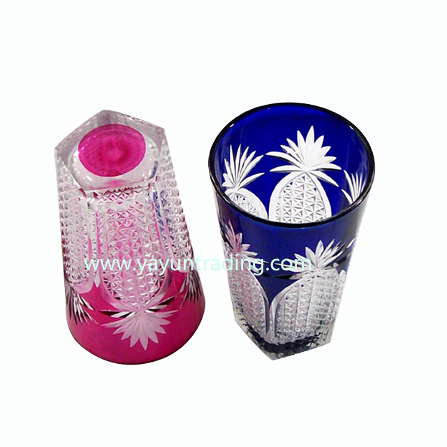 elegant pink and blue glass cup shot stem wine cup