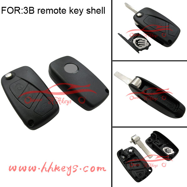 3button Fiat flip key shell with logo and battery holder in black
