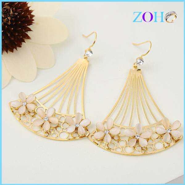 2016 stylish korea style flower shape opal earrings crystal gold plated earrings jewelry