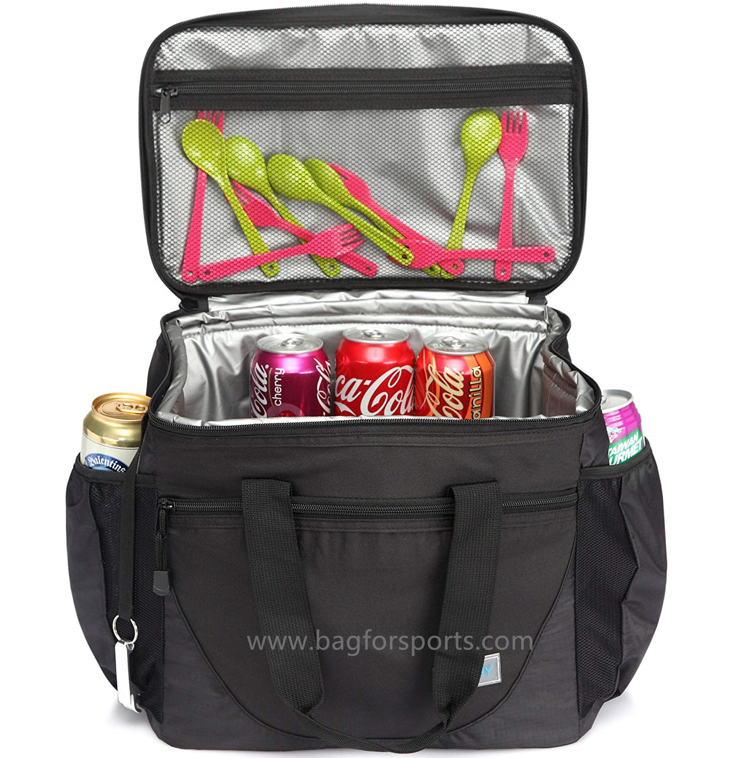 Large Cooler Bag, 30-Can 23L Insulated Leakproof Picnic Lunch Bag Multi-Pockets for Camping, Beach,