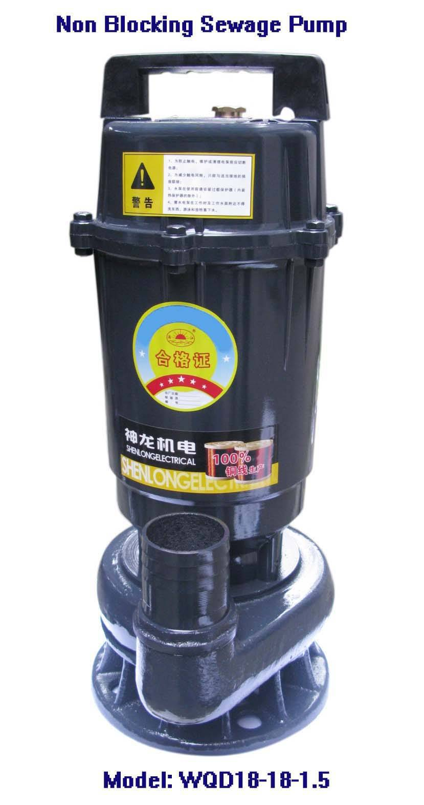 Electric Non-blocking Sewage Pump-WQD18-18-1.5