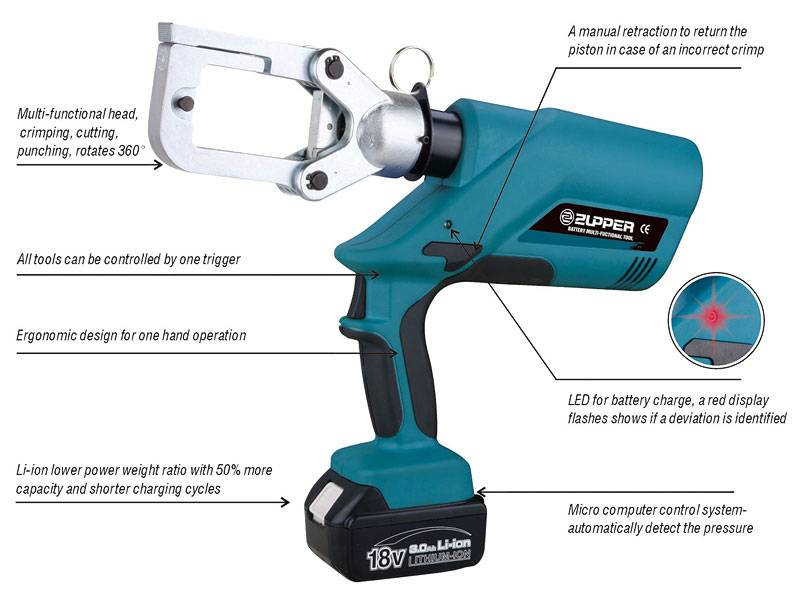 4.Battery multi-functional tool crimping, cutting and punching with one single tool EZ-60UNV