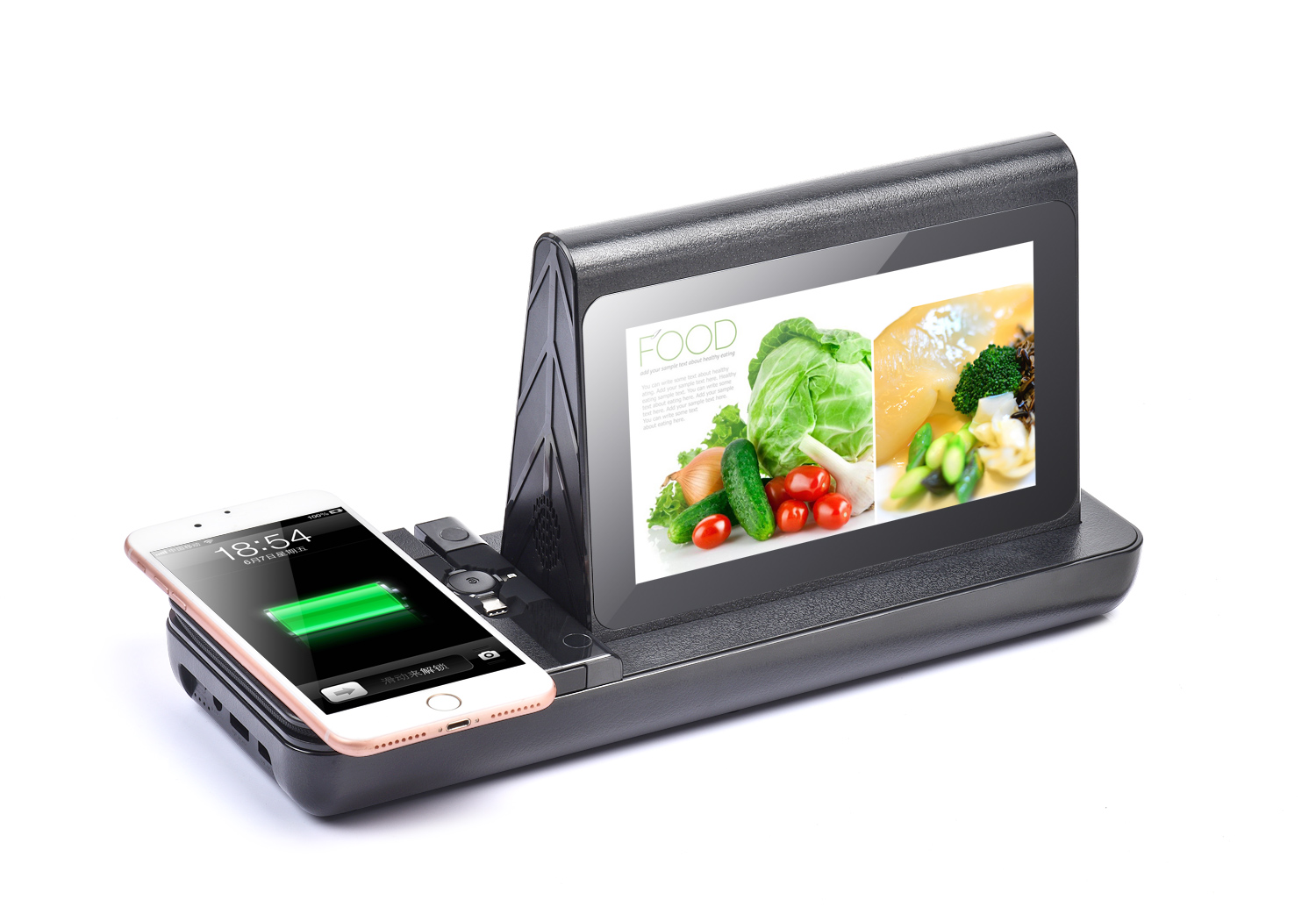 WiFi Android Table Advertising Player FYD838S Charging Station Restaurant Menu Power Bank 20800mAh