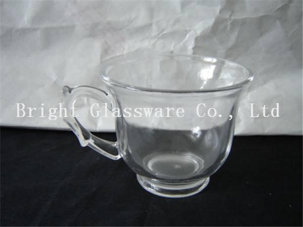 high quality machine press glass tea set with handle, coffee set sale