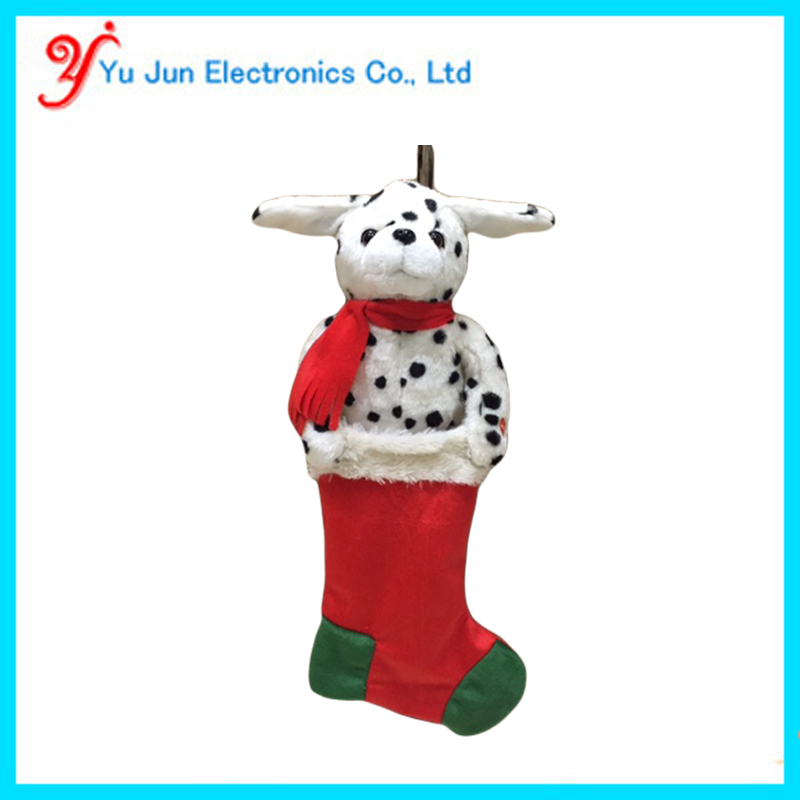 Animated christmas singing dog stocking