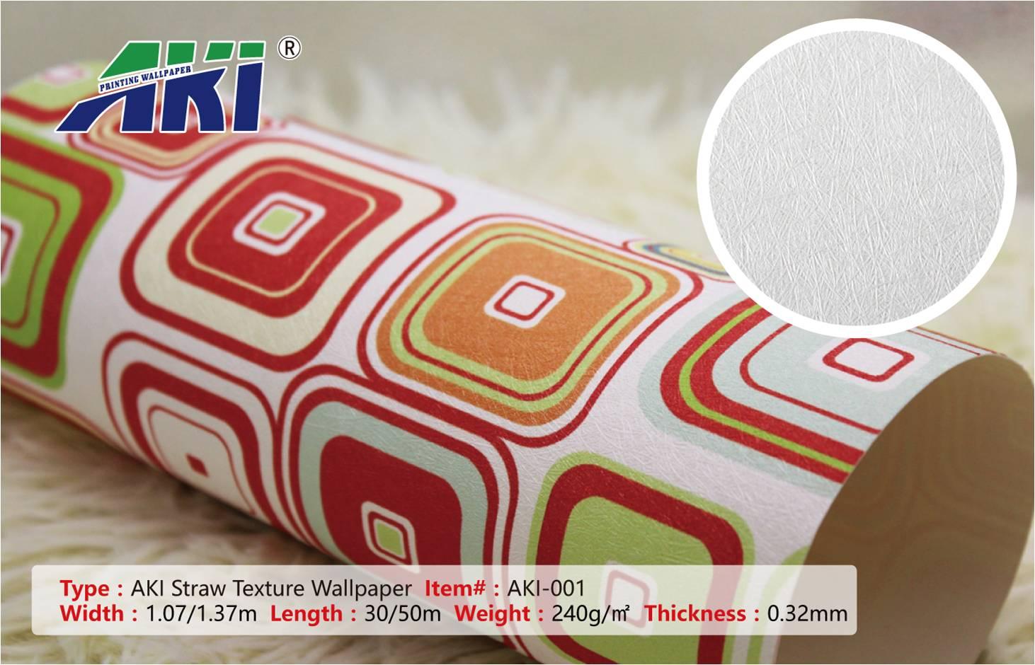 PVC AKI 001 Straw Texture Inkjet Eco-solvent Printable Wallpaper