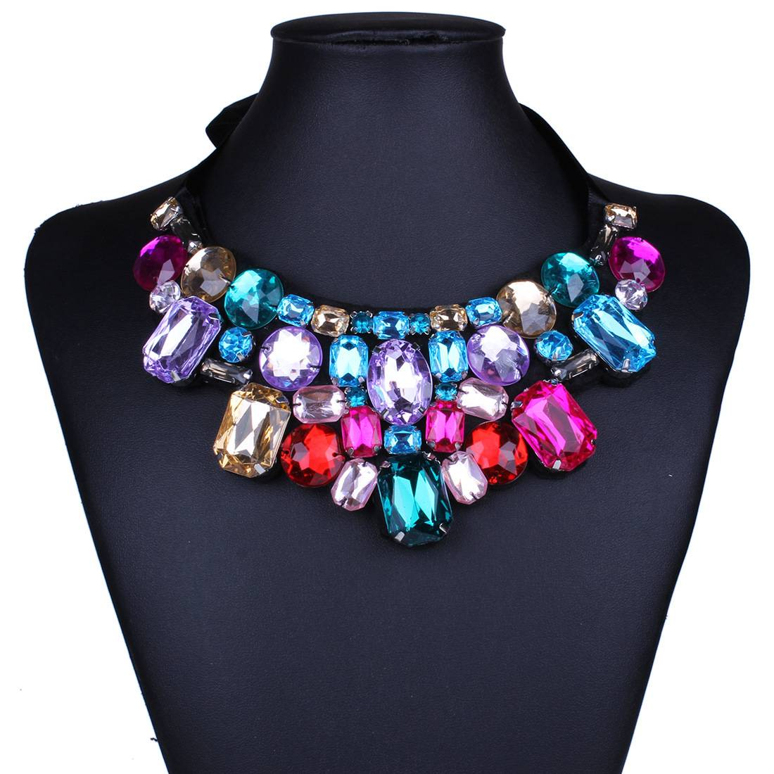 Fashion Gemstone Crystal Collar Rope Necklace