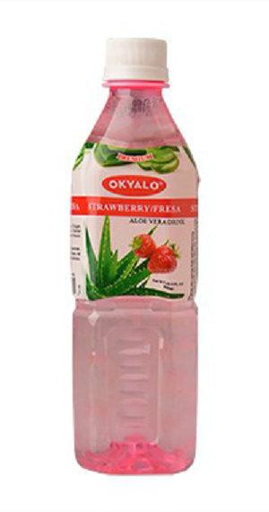 Strawberry Aloe Vera Juice with Pulp Okeyfood in 500ml Bottle