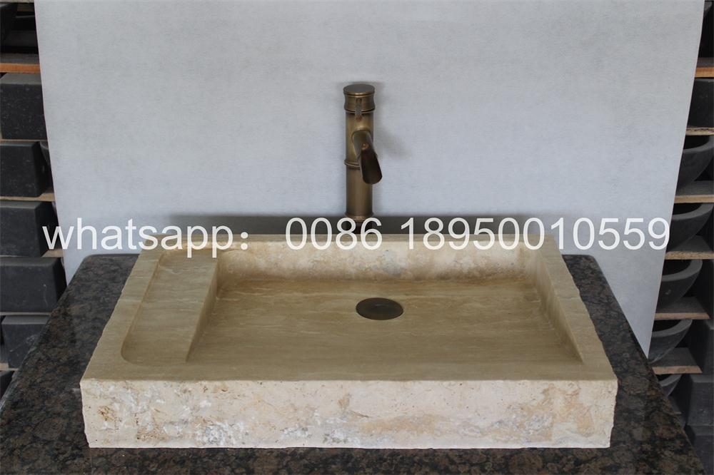 Beige Travertine Rectangle Bath Sinks