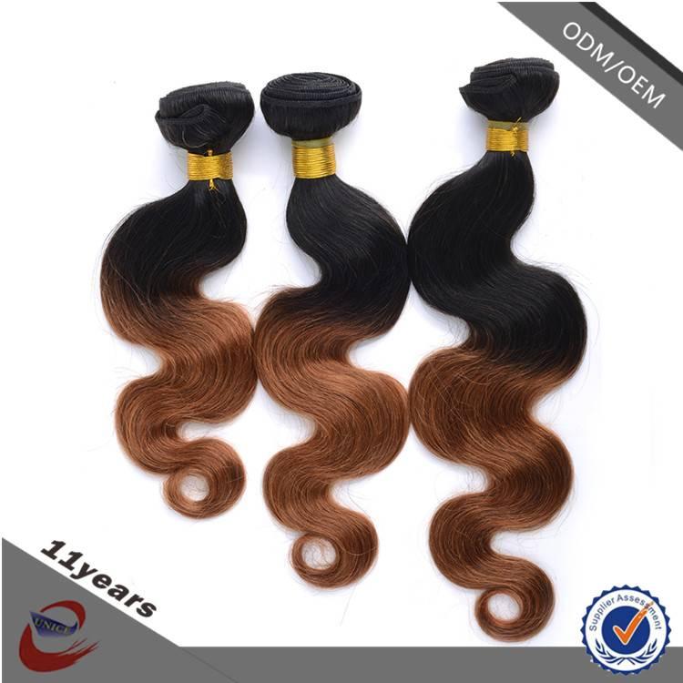 Cheap 100% Human Hair 6A Grade Virgin Two Tone Body Wave Brazilian Ombre Hair Extension