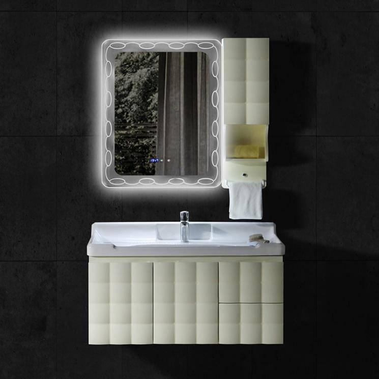 PVC bathroom vanity, dark groove style and intelligent mist removing mirror, countertop