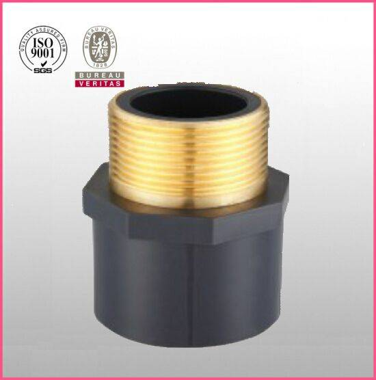 HJ brand UPVC ASTM D2467 SCH80 pipe fitting male adapter copper thread